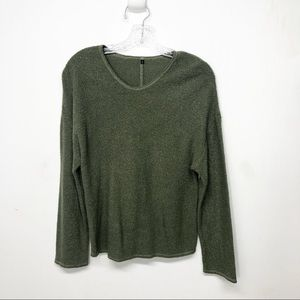 Vintage Olive Green Light  Sweater Linen Blend